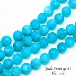 10 perles jade ronde givrée bleu vert 8mm