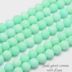 10 perles jade ronde ronde  vert d'eau givrée 10mm