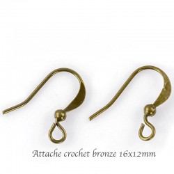 30 supports  attache  crochet bronze 16x12mm
