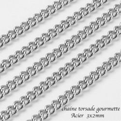 1 mètre Chaine acier gourmette torsade 3x2mm