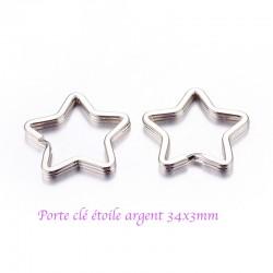 6 porte clefs étoile  métal argenté 34x3mm