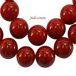 10 perles pierre jade ronde rouge/noir  teintées diamètre 10mm