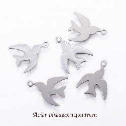 6 breloques acier oiseaux lisse plat argent mat 14x11mm