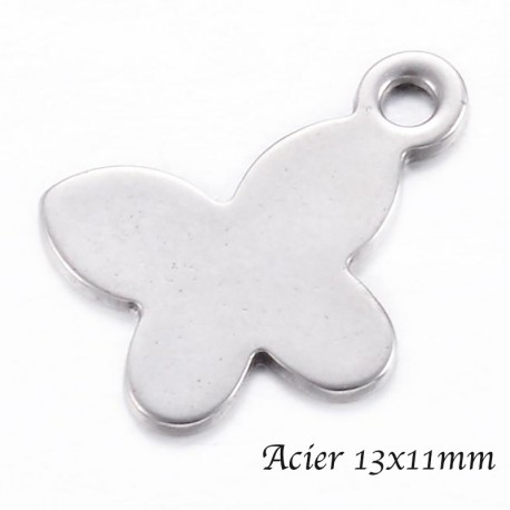 10 breloques papillon  acier inoxydable 13x11mm