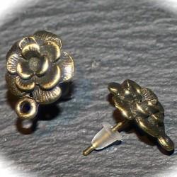 5 paires boucle d 'oreille clou fleur bronze bouton de  rose