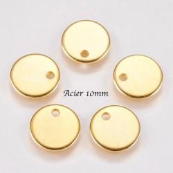10 sequins médaillon  acier or 10mm