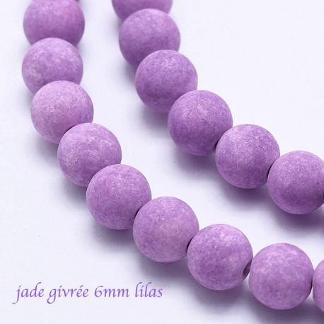 10 perles jade ronde givrée lilas  6mm