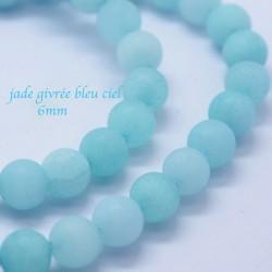 10 perles jade ronde givrée bleu laiteux 6mm