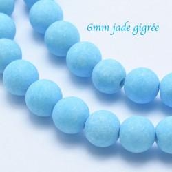 10 perles jade ronde givrée bleu azur 6mm