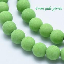10 perles pierre jade  ronde givrée vert prairie 6mm