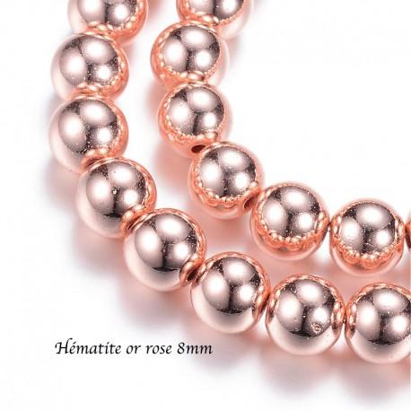 10 Perles hématite galvanoplastie or rose 8mm
