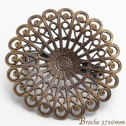 2 broches laiton bronze ronde filigrane 37mm