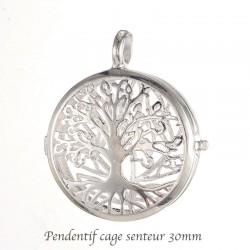 pendentif médaillon diffuseur parfum arbre de vie plaqué argent rond  30mm