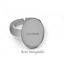 1Bague acier inoxydable 316L 13x18mm ovale acier mat
