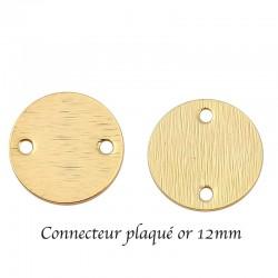 10 breloques sequin connecteur   rond plaqué or 12mm
