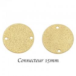 10 Sequins connecteur stardust 15mm plaqué or