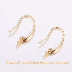 1 Paire crochet d'oreille laiton plaque or et béliere  24x3mm