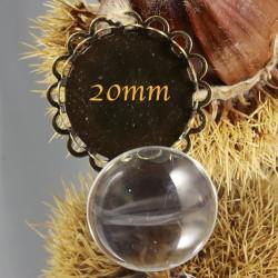 10 PIÈCES :5 supports cabochon bronze  double dentelle 20mm +5cabochons verre