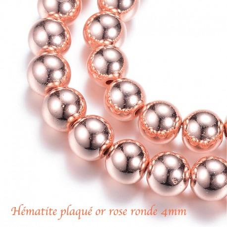 20 perles ronde hématite plaqué or rose galvanoplastie 4mm