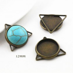 6 supports cabochon pendentif triangle bronze 12mm