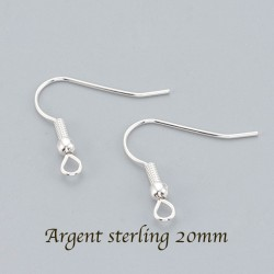 20 boucles d'oreille attache indienne argent sterling 20mm