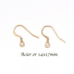 10 boucle d'oreille crochet acier or 14x17mm