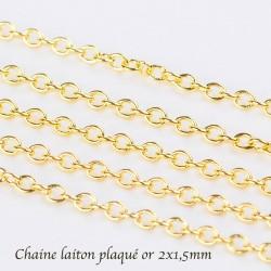 1 M chaine laiton plaqué or maillon ovale CH034Y