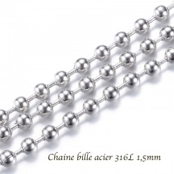 1 M chaine bille acier inoxydable 316L 1,5mm