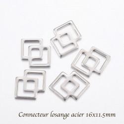 20 breloques connecteur losange double acier 16x11.5mm