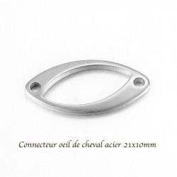 10 breloques connecteur acier oeil de cheval 21x10mm
