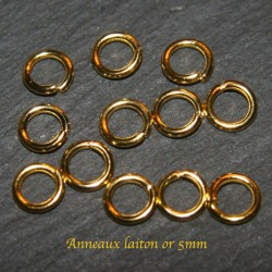100 Anneaux jonction laiton or 5mm