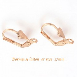 20 boucles d'oreille dormeuse laiton or rose 17x5mm