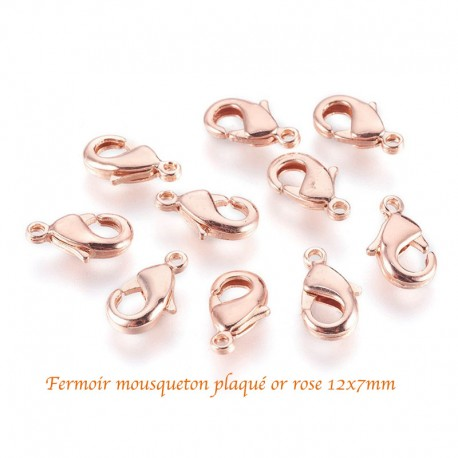 10 fermoirs mousquetons laiton plaqué or rose 12x7mm