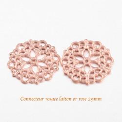 8 pendentifs connecteur rosace laiton or rose 29mm