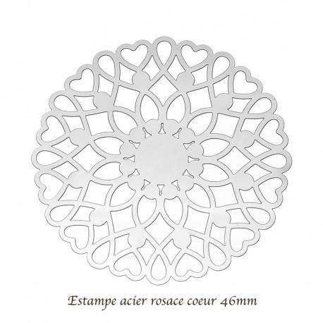 4 Estampes acier inoxydable rosace coeur 46mm
