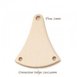2 supports pendentif connecteur tulipe doré 29x24mm