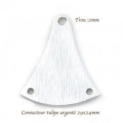 2 connecteurs pendentif tulipe argenté 29x24mm
