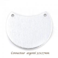 2 pendentifs connecteur argenté croissant lune 32x27mm