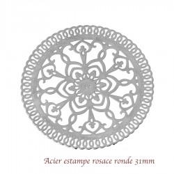 2 estampes acier rosace fleur 31mm