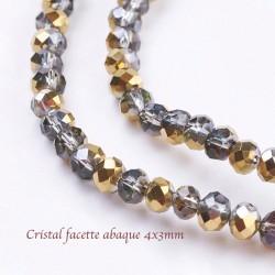 50 perles cristal facette abaque 4x3mm or/argent