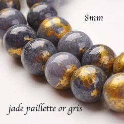 10 perles jade Mashan 8mm grise paillette or