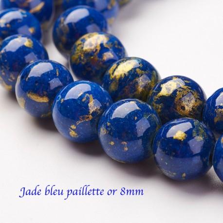 10 perles ronde jade Mashan bleu paillette or 8mm