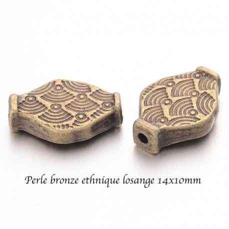 10 perles intercalaire losange bronze ethnique 14x10mm