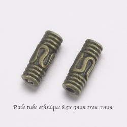 20 Perles intercalaires tube bronze 8.5x3mm