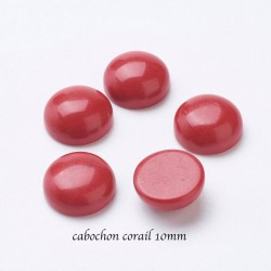 2 cabochons corail rouge synthétique  10mm