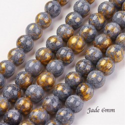 20 perles jade ronde gris paillete or 6mm