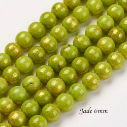 20 perles jade ronde 6mm chartreuse  paillette or