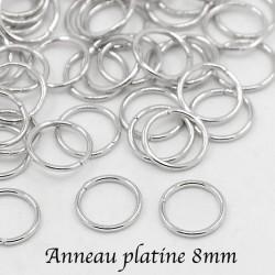 100 anneaux jonction ouvert argent platine 8mm