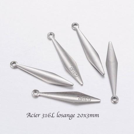 10 pendentifs sequin  acier inoxydable 316L  losange 20x3x1mm