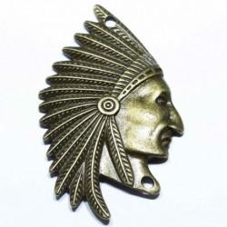 2 grands pendentif  connecteur chef indien et sa coiffe bronze 50x31mm